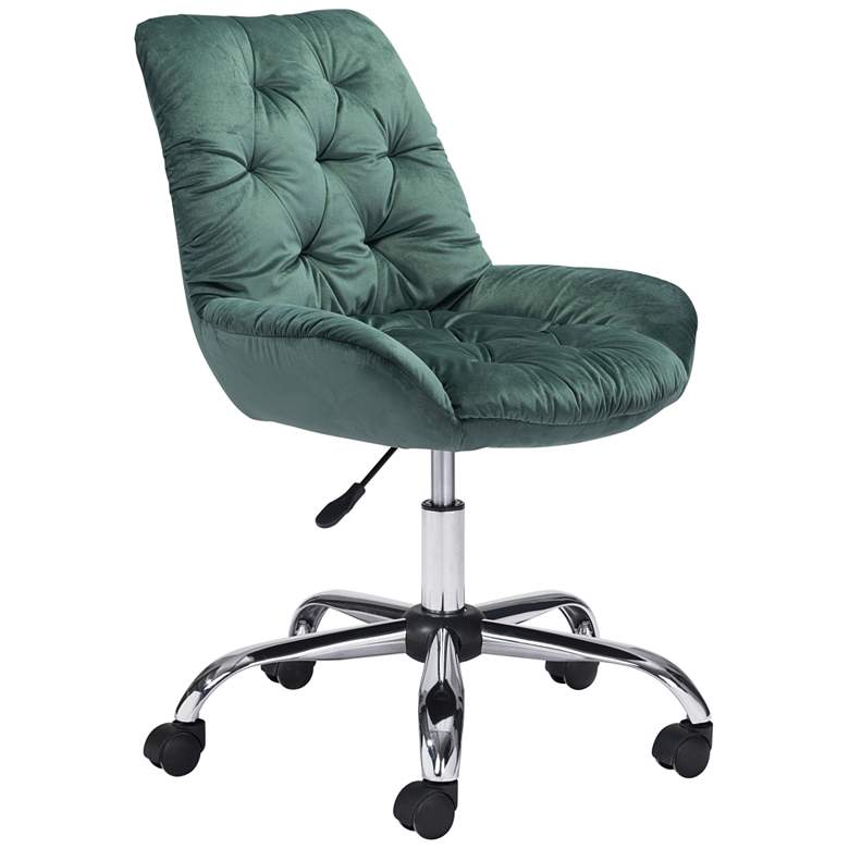Zuo Loft Green Tufted Adjustable Swivel Office Chair