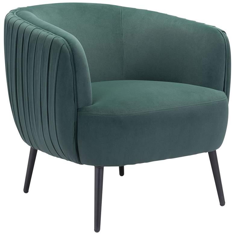 Zuo Karan Pleated Green Velvet Accent Chair