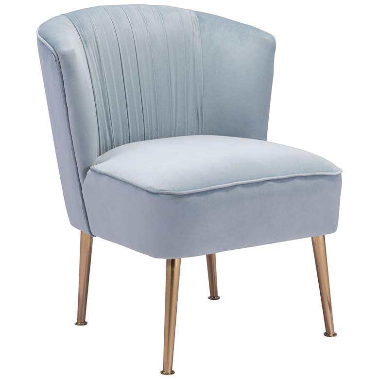 Zuo Andes Pleated Blue Velvet Armless Accent Chair