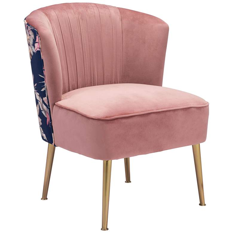 Zuo Tina Pink Pleated and Foliage Print Accent Chair