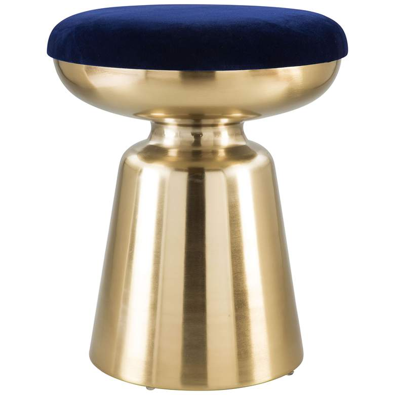 Zuo Juniper Blue and Gold Round Side Stool