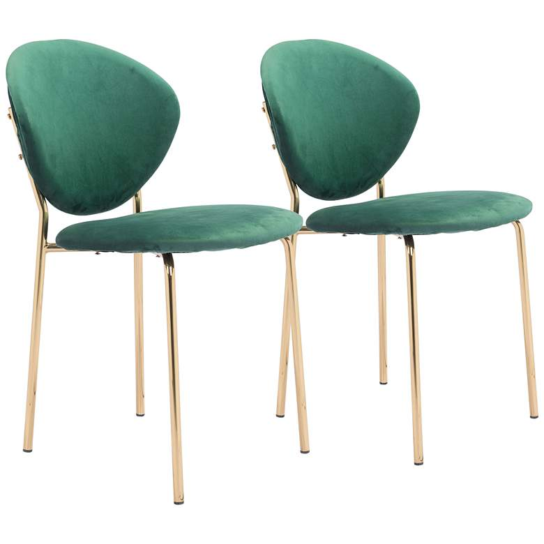 Zuo Clyde Green Velvet Dining Chairs Set of 2