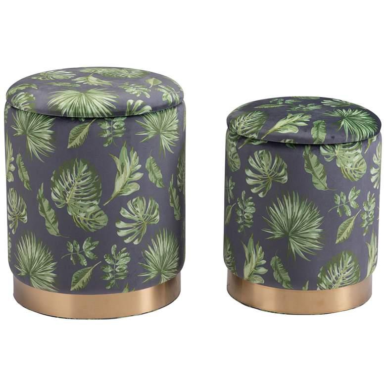 Zuo Benson Green Round Storage Ottomans Set of 2