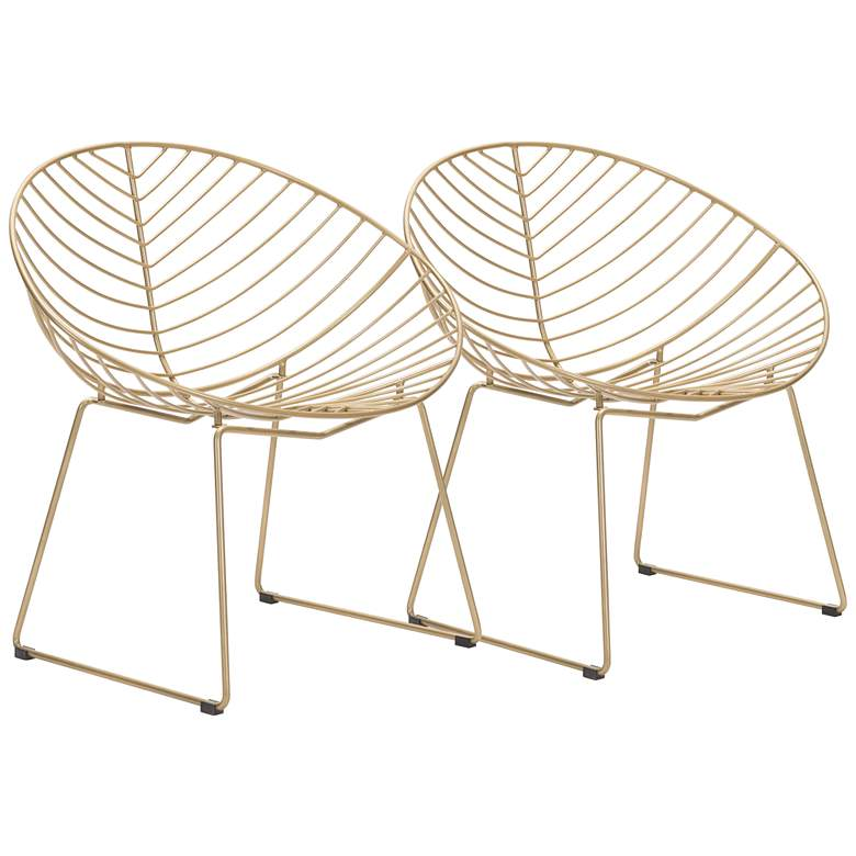 Zuo Hyde Gold Metal Lounge Chairs Set of 2