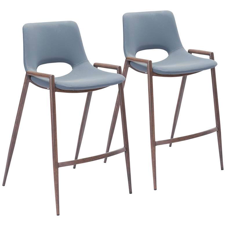 """Zuo Desi 25 1/2"""" Gray Faux Leather Counter Chairs Set of 2"""