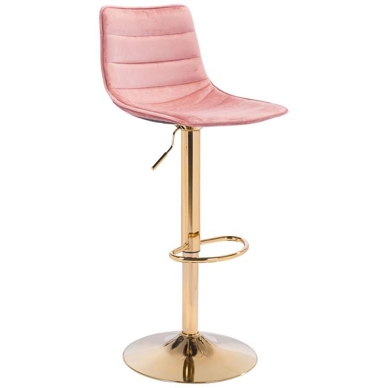 Zuo Prima Pink Adjustable Swivel Bar Stool