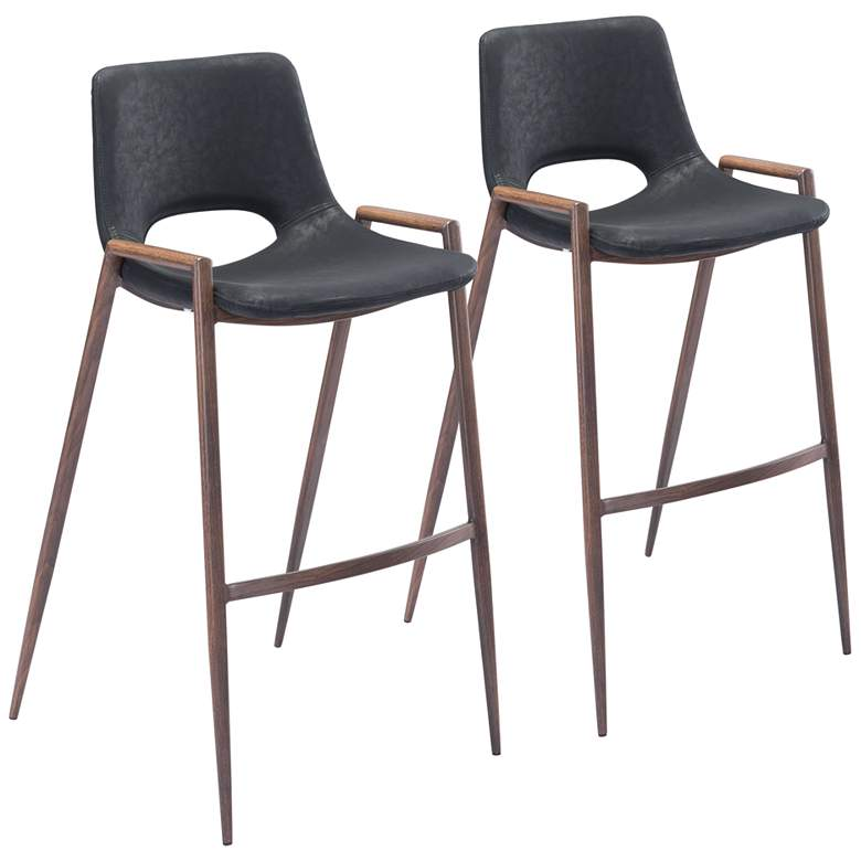 "Zuo Desi 29 1/4"" Black Faux Leather Bar Chairs Set of 2"