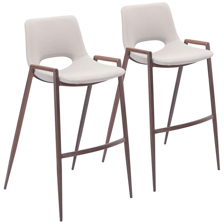 """Zuo Desi 29 1/4"""" Beige Faux Leather Bar Chairs Set of 2"""