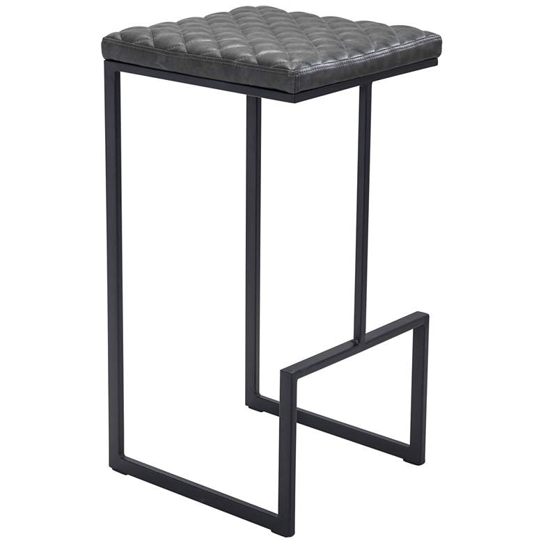 """Zuo Element 29 1/2"""" Gray Faux Leather Bar Stool"""