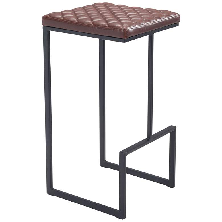 """Zuo Element 29 1/2"""" Brown Faux Leather Bar Stool"""
