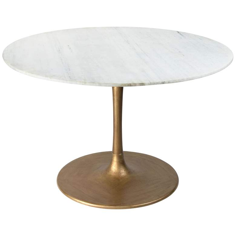 "Zuo Ithaca 47"" Wide White and Gold Round Dining Table"