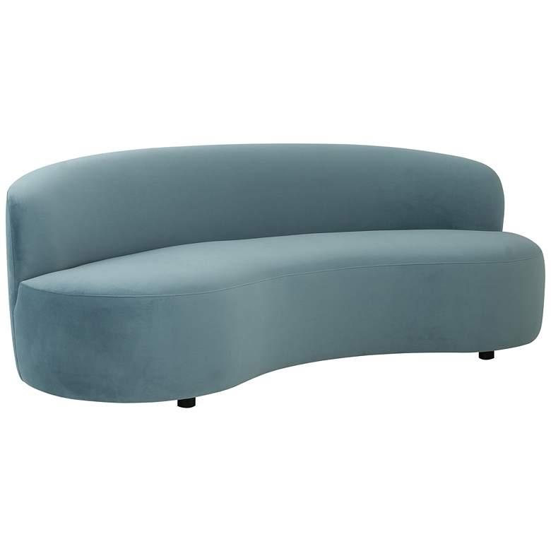 "Cannellini 89"" Wide Bluestone Velvet Curved Sofa"