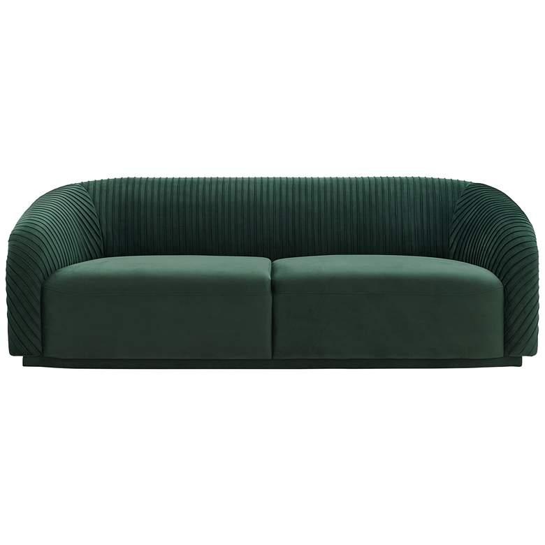 "Yara 90 1/2"" Wide Pleated Forest Green Velvet Sofa"