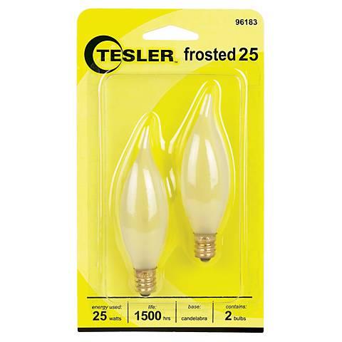 Tesler 25 Watt 2-Pack Frosted Bent Tip Candelabra Bulbs