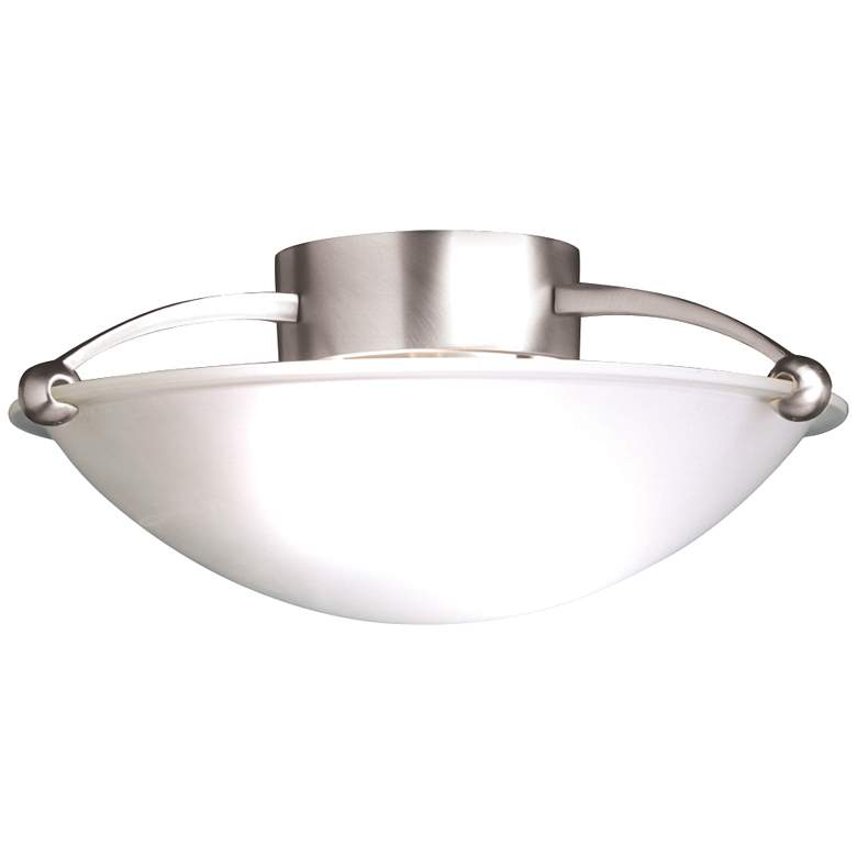 """Contemporary Brushed Steel 15"""" Wide Ceiling Light Fixture"""