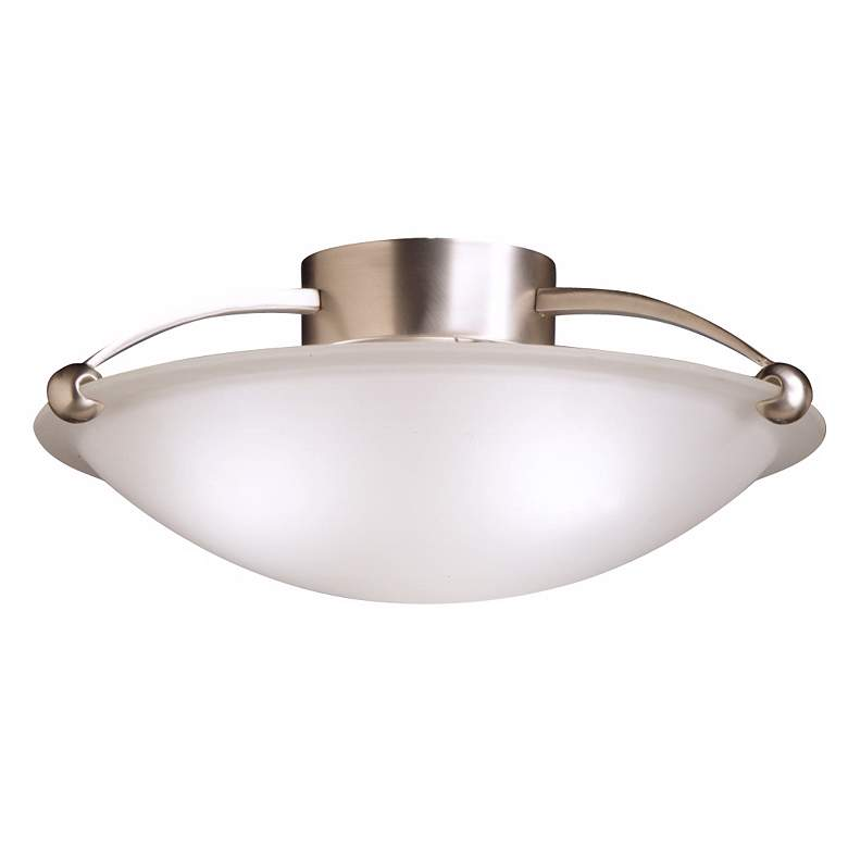 """Kicheler 17"""" Wide Brushed Steel and Glass Ceiling Light"""
