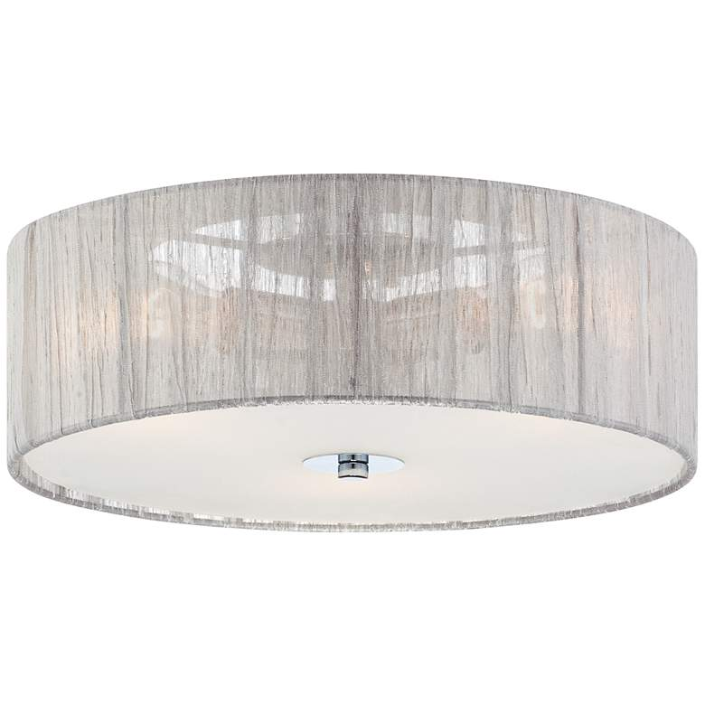 "Possini Euro Sheer 16"" Wide Silver Fabric Ceiling Light"