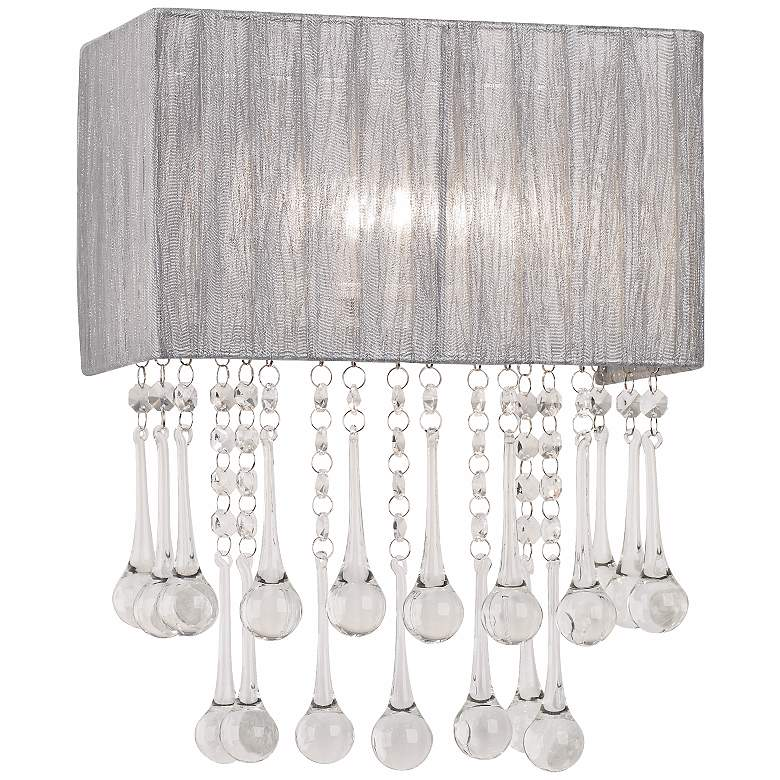 """Possini Euro Pernelle 14"""" High Silver Crystal Wall Sconce"""