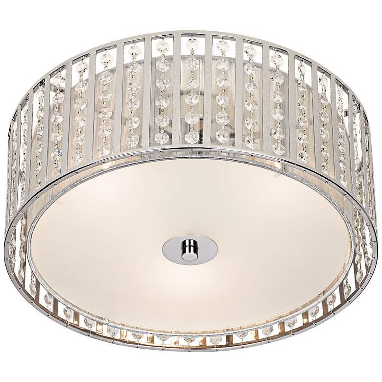 "Possini Euro Crystal Strands 15 3/4"" Wide Drum Ceiling Light"