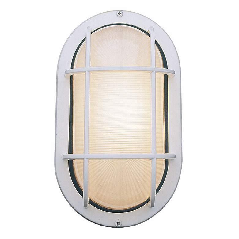 "Bulkhead 11"" High Satin Steel Oval Outdoor Wall Light"
