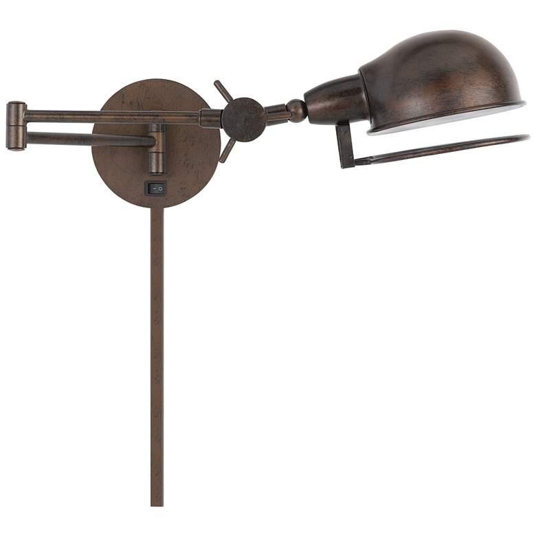 Linthal Rust Adjustable Plug-In Swing Arm Wall Lamp
