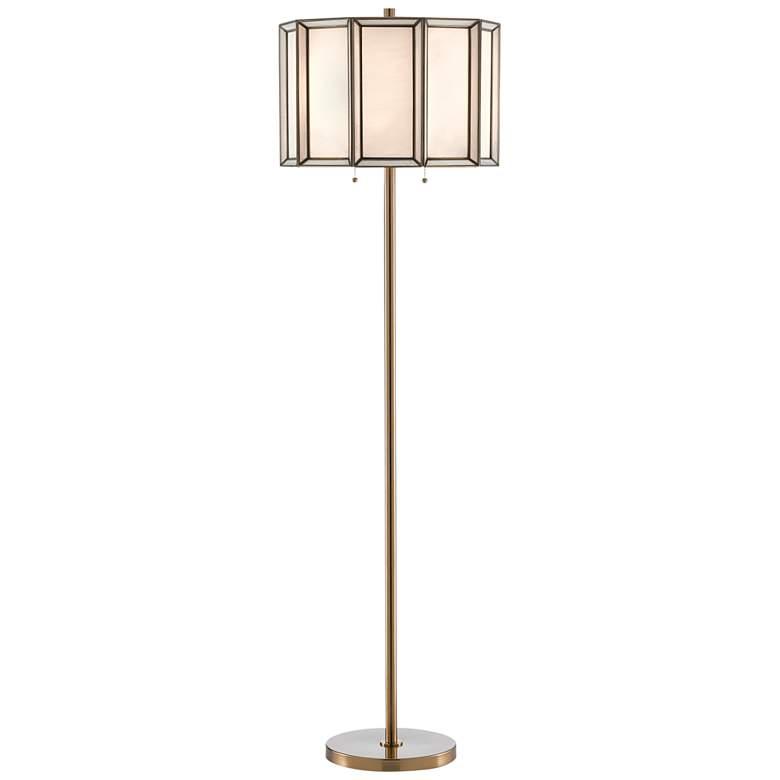Daze Antique Brass Art Glass Shade Pull Chain Floor Lamp