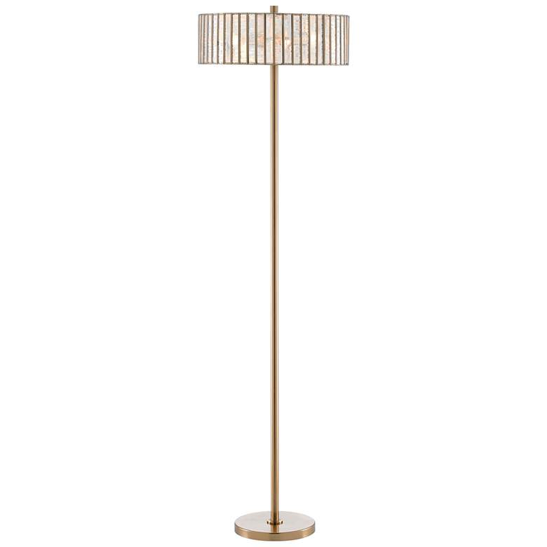Currey and Company Rosabelle Antique Brass Art Glass Floor Lamp