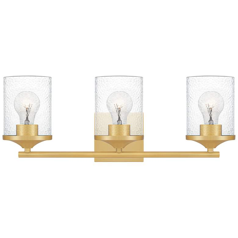 "Quoizel Abner 21"" Wide Aged Brass 3-Light Bath Light"