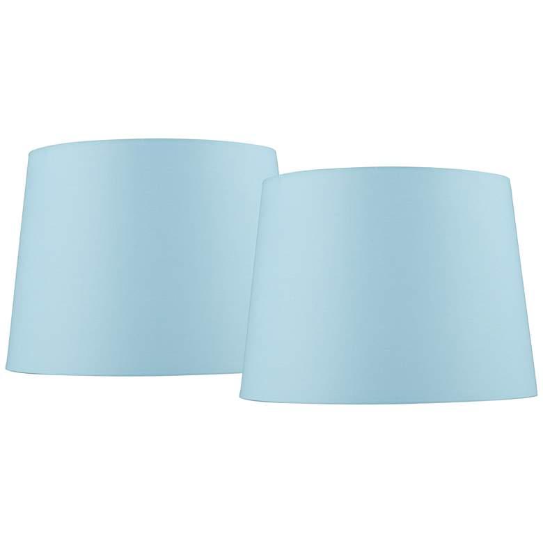 Soft Blue Drum Lamp Shades 11x13x9.5 (Spider) Set of 2