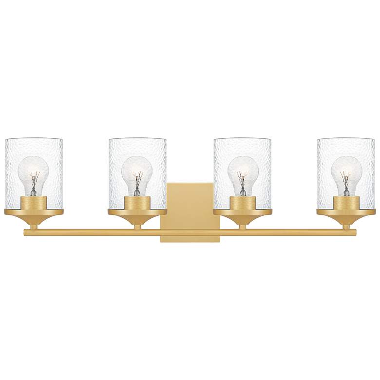 "Quoizel Abner 28"" Wide Aged Brass 4-Light Bath Light"