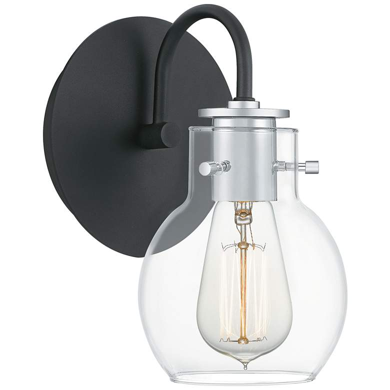 """Quoizel Andrews 9"""" High Earth Black Metal Wall Sconce"""