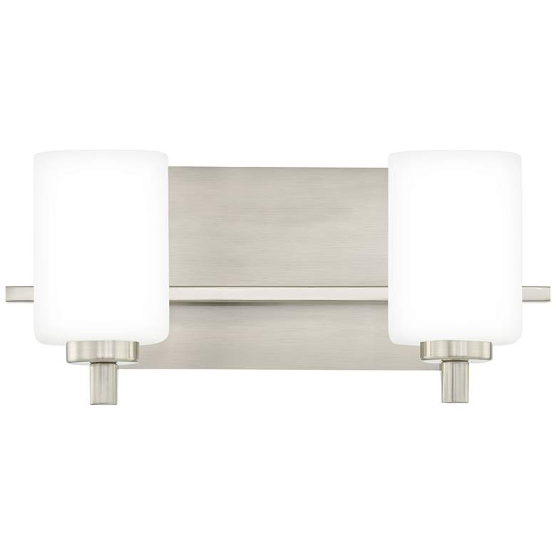 """Quoizel Brighton 5 3/4""""H Brushed Nickel 2-Light Wall Sconce"""
