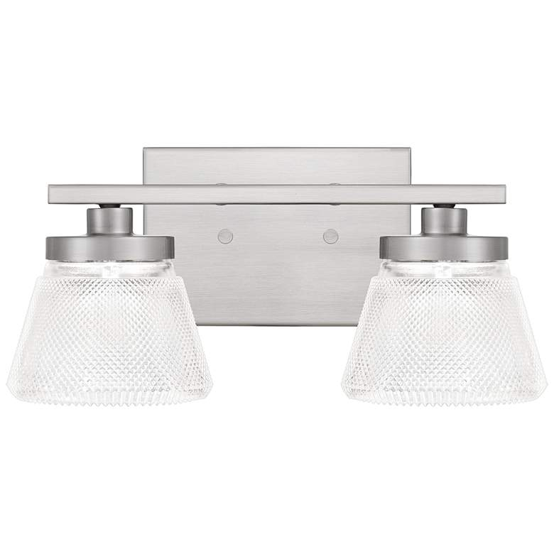"""Quoizel Hunley 6"""" High Brushed Nickel 2-Light Wall Sconce"""
