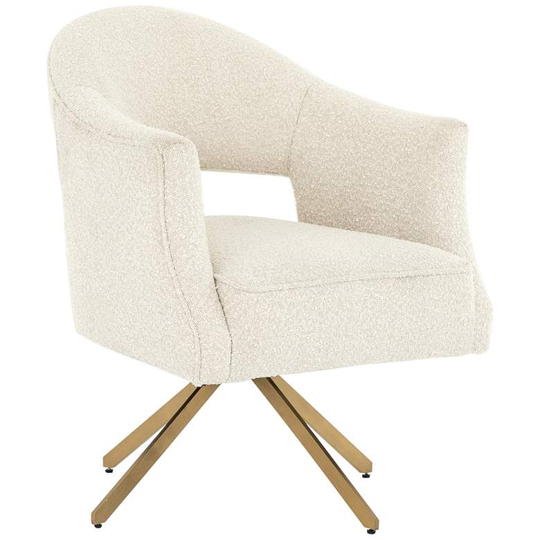 Adara Knoll Natural and Polished Brass Swivel Desk Chair