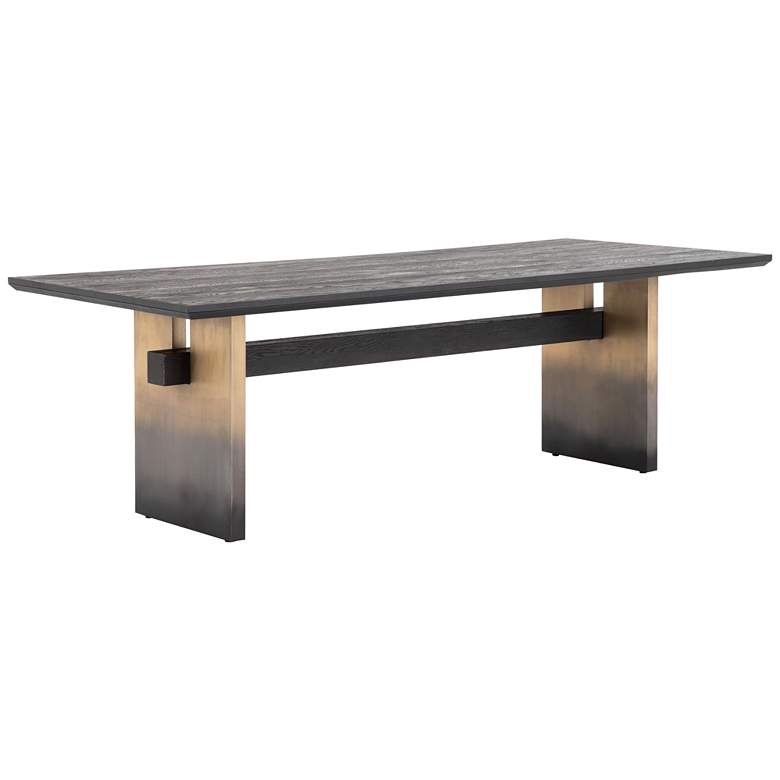 """Brennan 94"""" Wide Brass Iron and Oak Ombre Dining Table"""