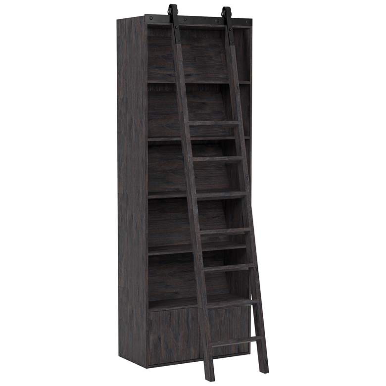 "Bane 98"" High Pine 5-Shelf Bookshelf and Ladder"