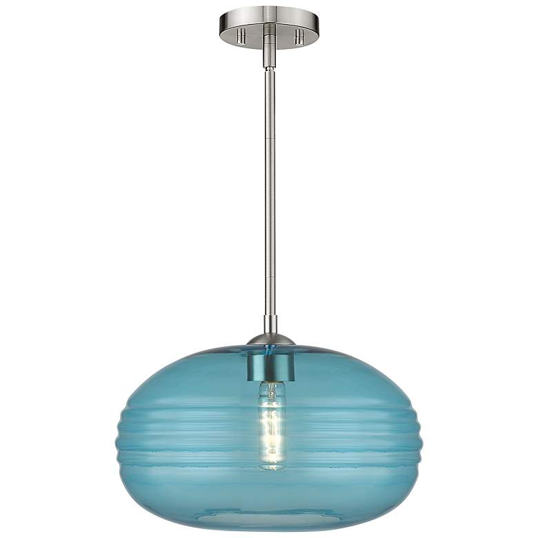 """Harmony 14"""" Wide Brushed Nickel Pendant Light with Blue Glass"""