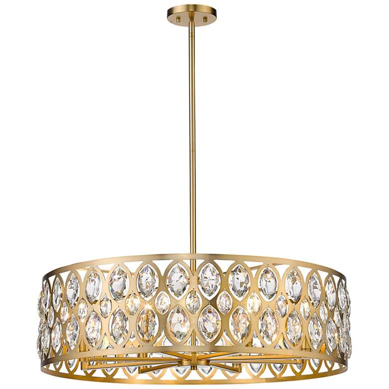 """Dealey 30 1/4"""" Wide Crystal Heirloom Brass 8-Light Chandelier"""