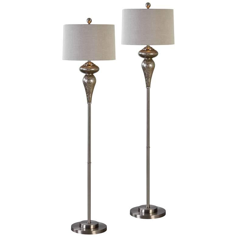 Uttermost Vercana Brushed Nickel Floor Lamps Set of 2
