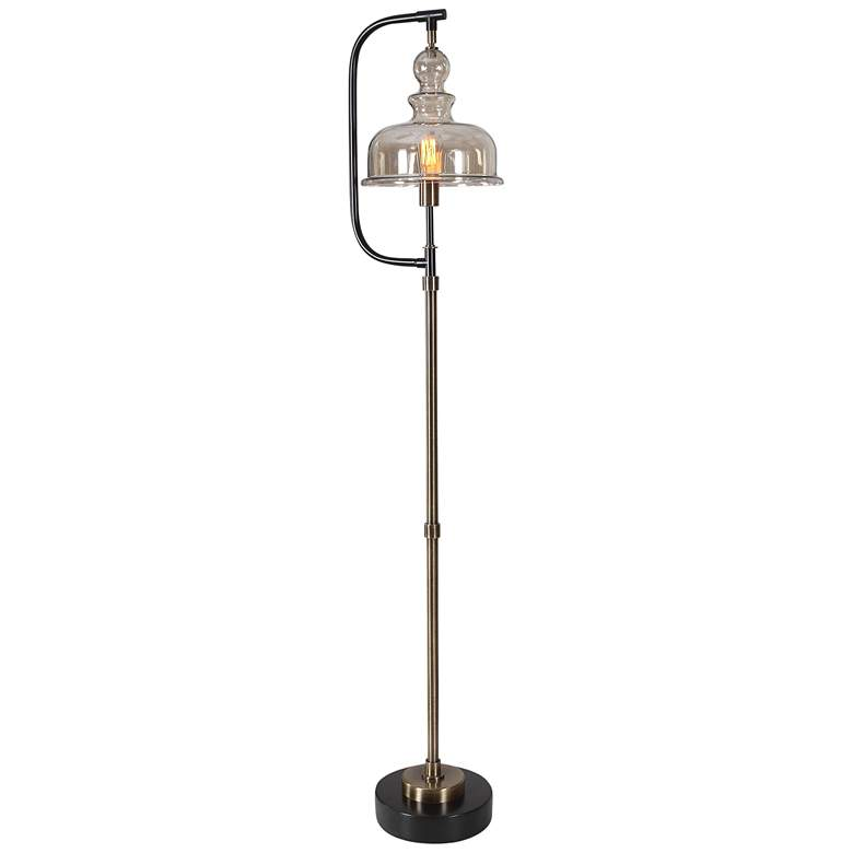 Uttermost Elieser Brushed Brass and Aged Black Floor Lamp