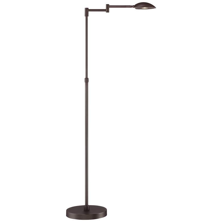 Possini Euro Eliptik Bronze Swing Arm LED Floor Lamp
