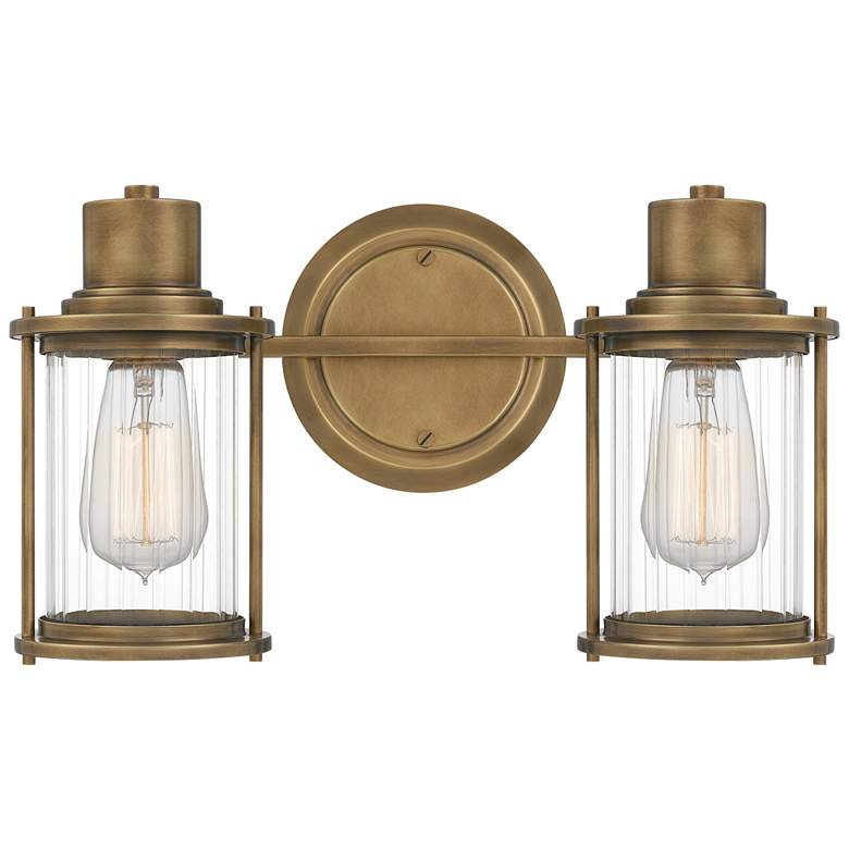 "Quoizel Riggs 8 1/2""H Weathered Brass 2-Light Wall Sconce"