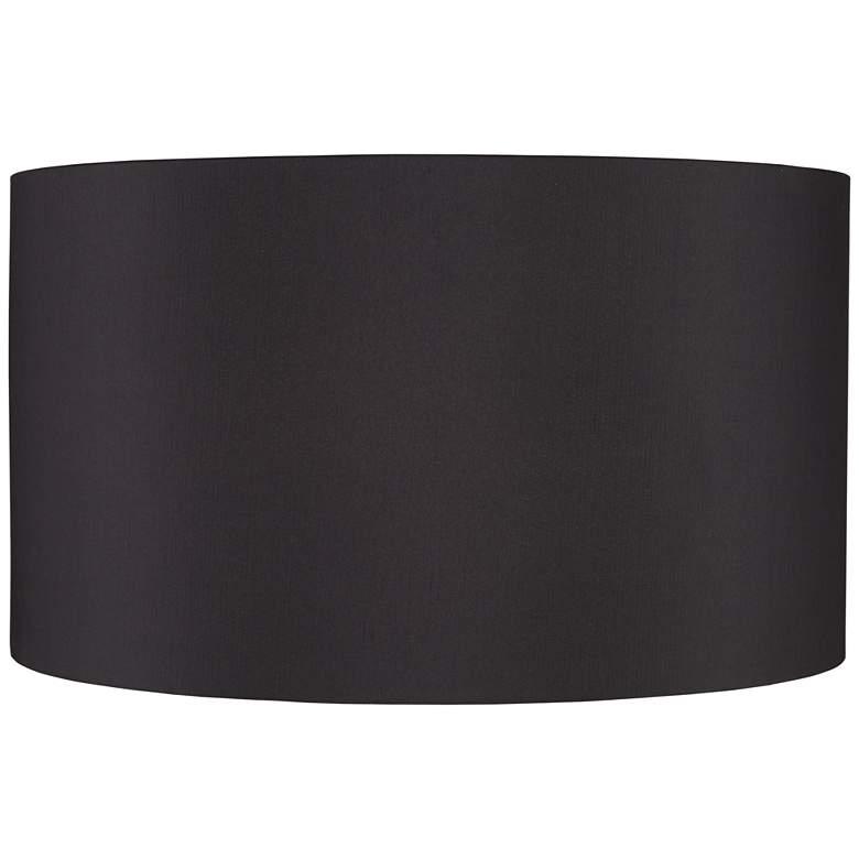 Black Faux Silk Hardback Drum Lamp Shade 23x23x13 (Spider)