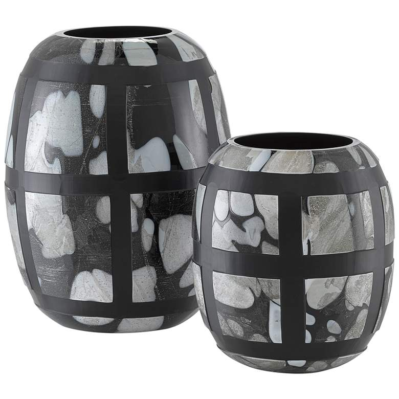 Currey and Company Schiappa Black Glass Vases Set of 2