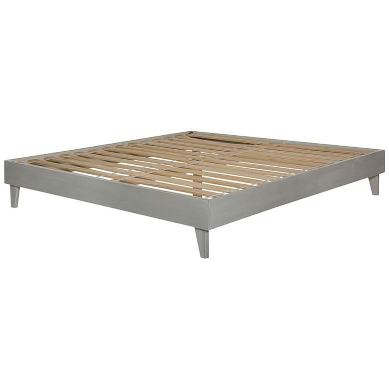 Brushed Gray Solid Pine Wood King Platform Bed