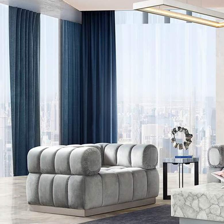 Image Platinum Gray Velvet Tufted Low Profile Armchair