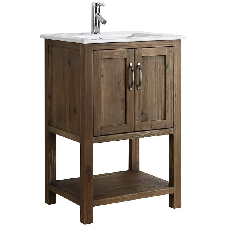 """Austin 24"""" Wide Walnut Wood 2-Door Single Sink Vanity"""
