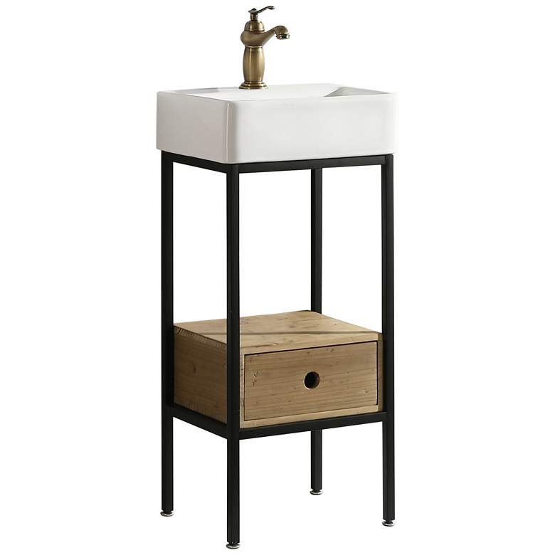 """Cassidy 16"""" Wide Natural Wood 1-Drawer Single Sink Vanity"""