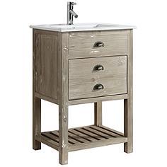 """Asbury 24"""" Wide Natural Wood 1-Drawer Single Sink Vanity"""
