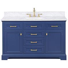 """Milano 54"""" Wide Blue Wood 6-Drawer Single Sink Vanity"""